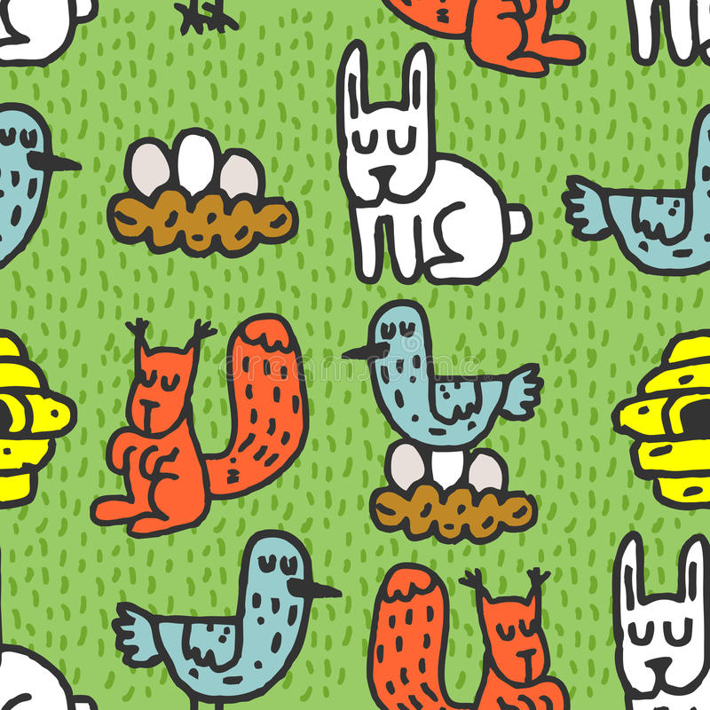 Childrens drawing forest animals seamless pattern. Rabbits ornament. Hive and birds. Nest with eggs stock illustration
