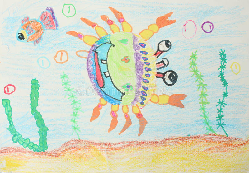 Childrens drawings. Crab and fish royalty free illustration