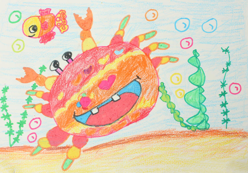 Childrens drawings. Crab and fish stock illustration