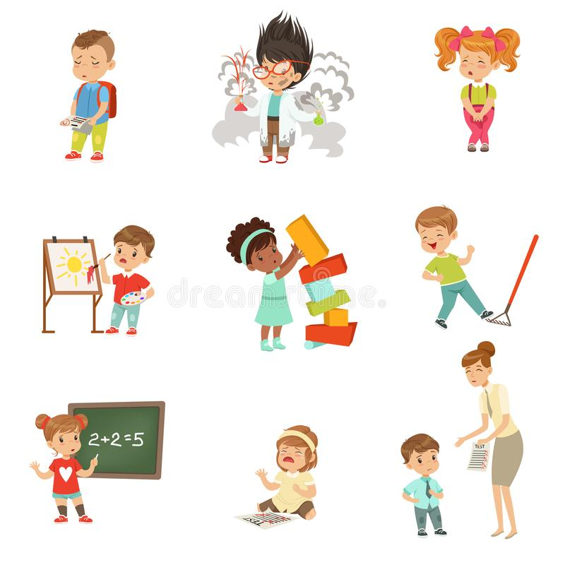 Childrens failures and mistakes set, frustrated little kids experiencing their failures vector Illustrations on a white vector illustration