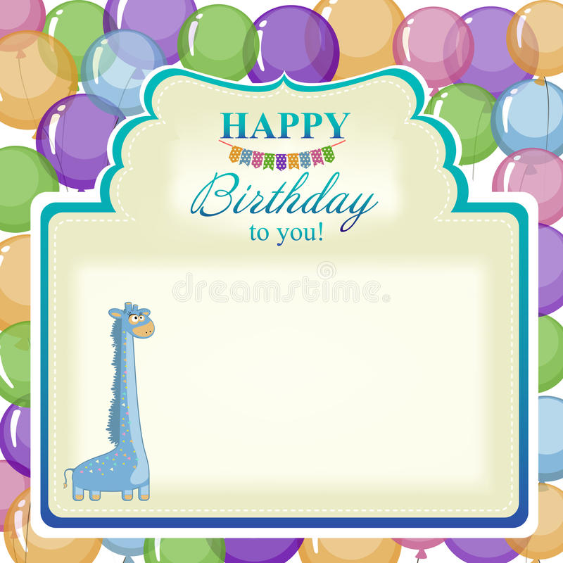 Childrens greeting background with blue giraffe. Postcard for greetings birthday with balloons for the little boy royalty free illustration