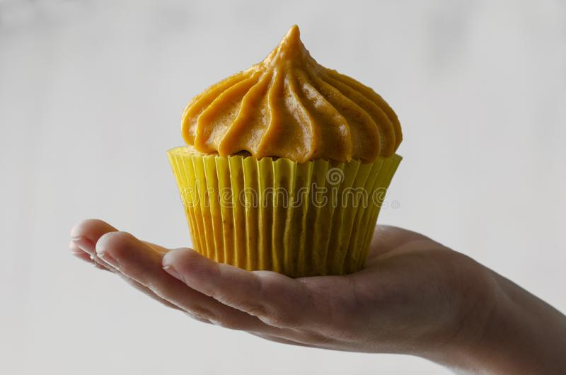 Childrens hand holding pumpkin cupcakes with pumpkin-caramel cream  on a White Background royalty free stock photo