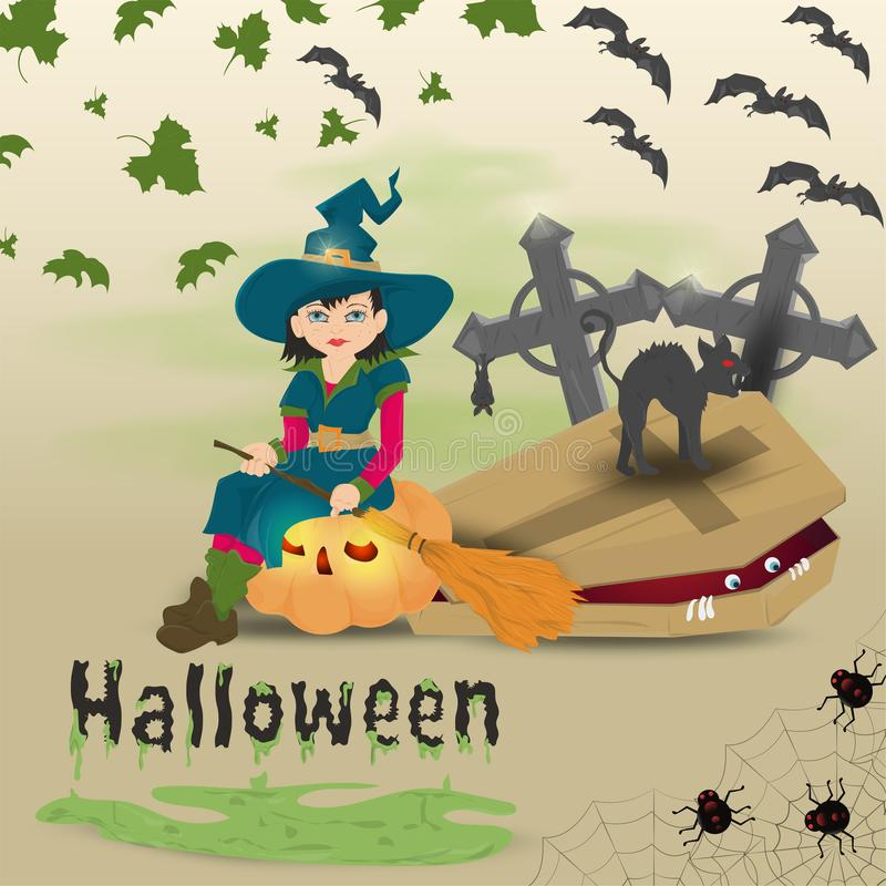 Childrens illustration in flat style, on the theme of all saints eve, Halloween, a little witch with a broom sitting on a pumpkin stock illustration