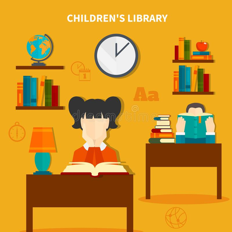 Childrens Library Composition. Childrens library with boy and girl during reading books, interior elements composition on yellow background vector illustration royalty free illustration