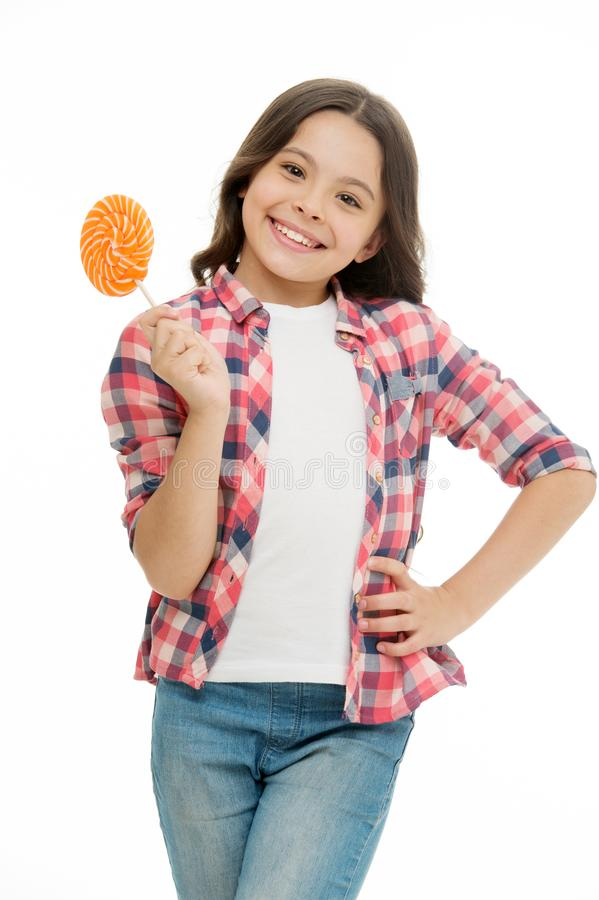 Childrens menu. Girl cute smiling face holds sweet lollipop. Sweets in appropriate portions ok. Girl likes sweets as. Lollipop candy, isolated white background stock images