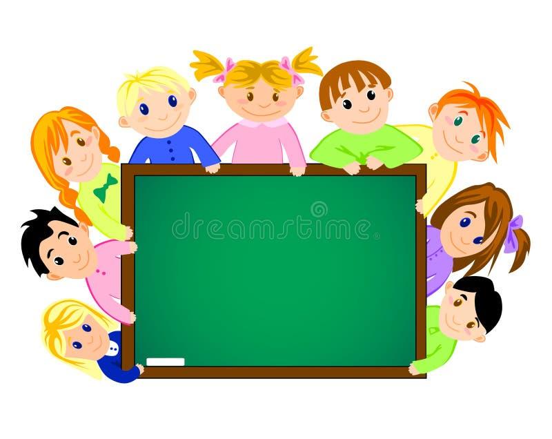 Childrens near the school board stock illustration