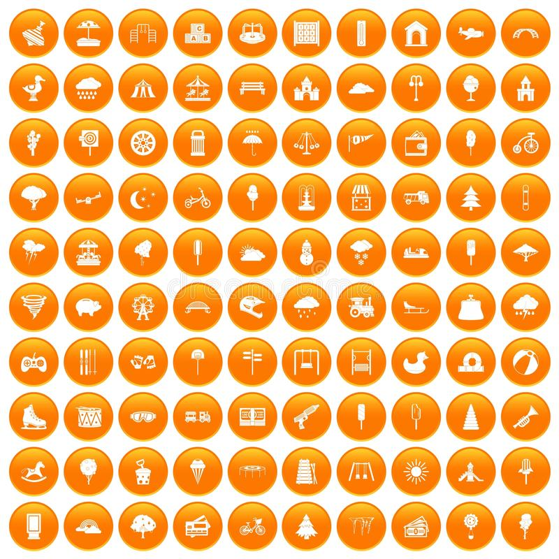 100 childrens park icons set orange. 100 childrens park icons set in orange circle isolated vector illustration stock illustration
