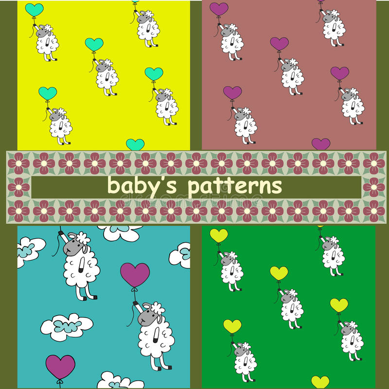Childrens pattern. Sheep with balloons. stock illustration