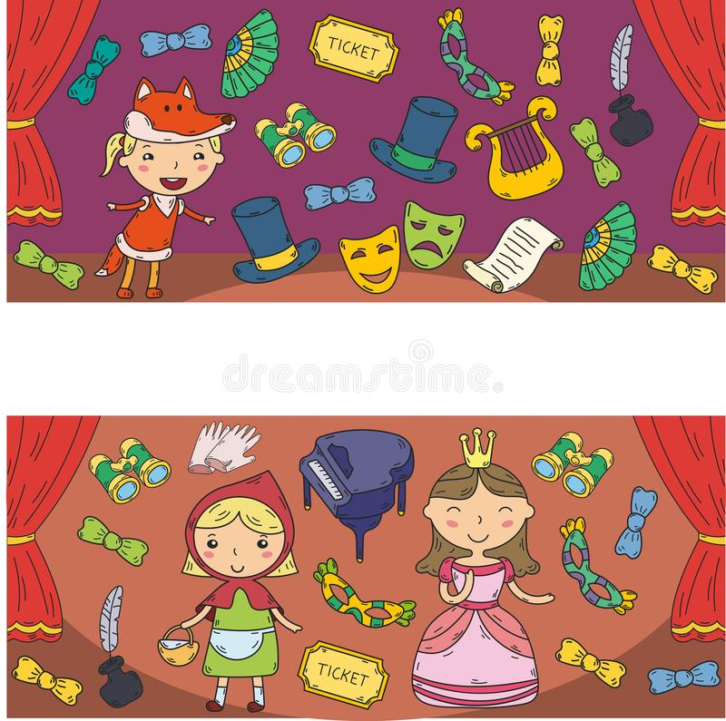 Childrens performance in the theater. Kindergarten musical. School kids playing. Stage, entertaiment, cinema. Little royalty free illustration