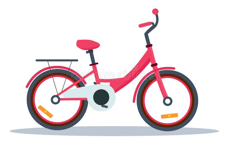 Childrens pink bike. Vector cartoon illustration isolated on white background. Childrens pink bike. Vector flat cartoon illustration isolated on white royalty free illustration