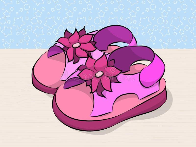Childrens pink sandals. Brochure for fashion. Illustration stock illustration