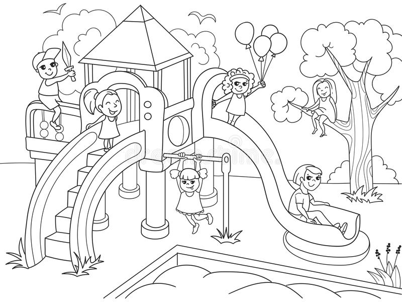 Download Childrens Playground Coloring. Vector Illustration Of Black And  White Stock Vector   Illustration Of
