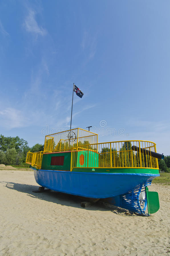 Childrens Playground Tugboat Pirate Ship Stock Photo