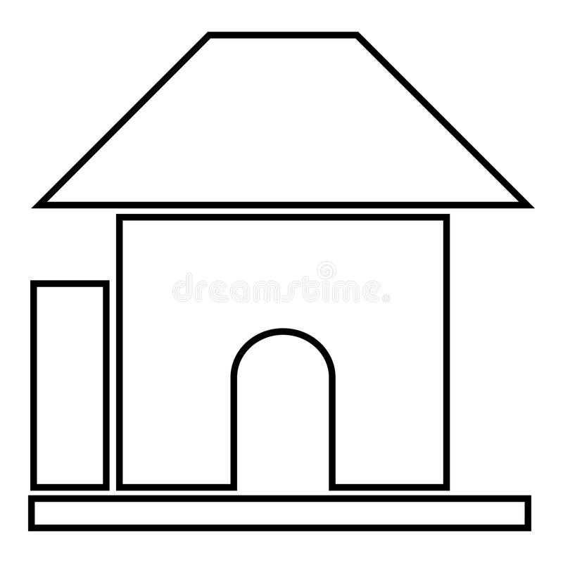 Childrens playhouse icon, cartoon style stock illustration
