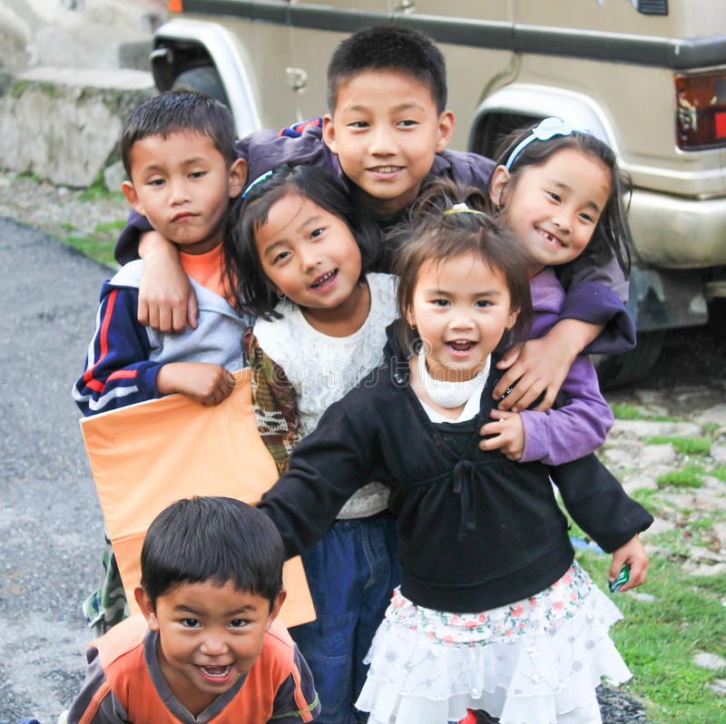 Cute Indian Children playing in Streets of Sikkim royalty free stock photos