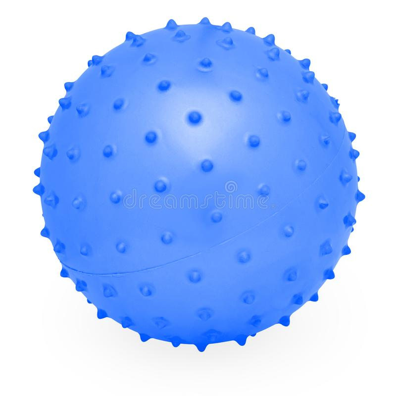 Childrens Round Silicone Inflatable Blue Knobby Ball. Children`s Round Silicone Inflatable Blue Knobby Ball for Indoor or Outdoor Play stock images