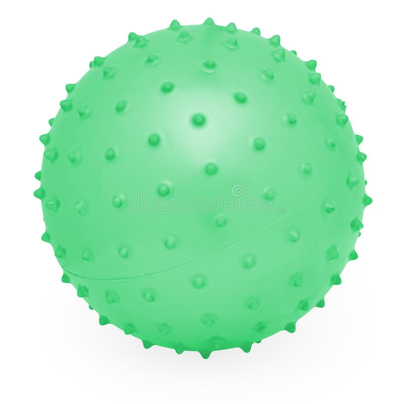 Kids Round Silicone Inflatable Green Knobby Ball. Children`s Round Silicone Inflatable Green Knobby Ball for Playtime Fun and Games stock image