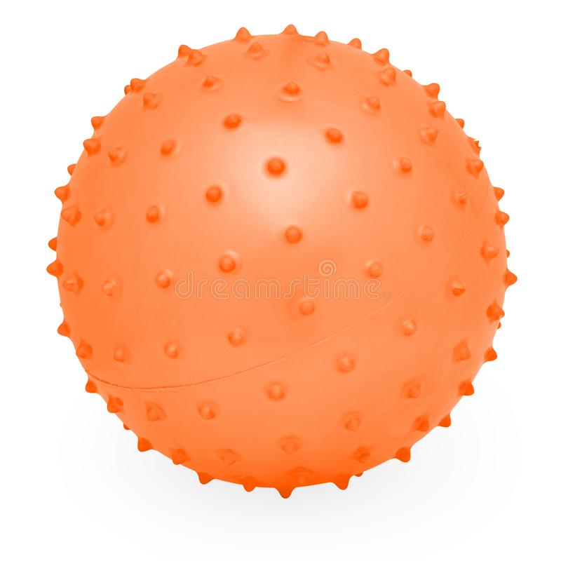 Childrens Round Silicone Inflatable Orange Knobby Ball royalty free stock photography