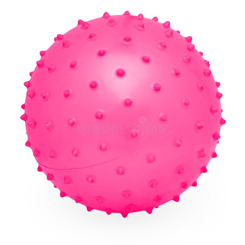 Childrens Round Silicone Inflatable Pink Knobby Ball. Child`s Pink Round Fun Silicone Inflatable Knobby Bouncing Prickly Ball royalty free stock image
