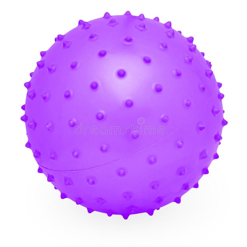 Childrens Round Silicone Inflatable Purple Knobby Ball stock photos