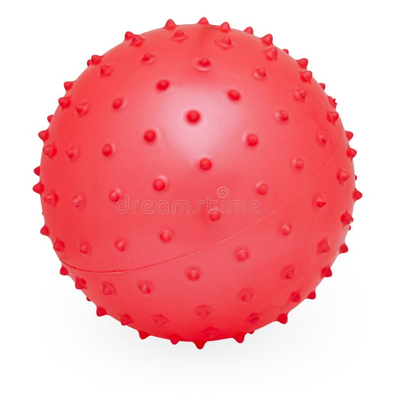 Childrens Round Silicone Inflatable Red Knobby Ball. Child`s Red Round Fun Silicone Inflatable Knobby Bouncing Prickly Ball royalty free stock photography