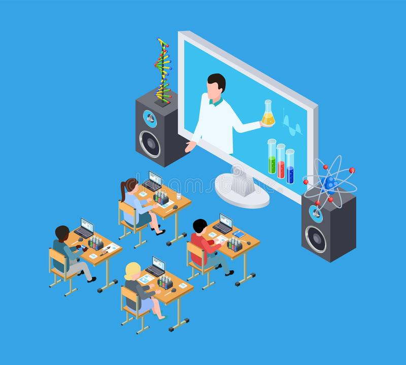 Childrens science experiment. Isometric chemistry lesson for kids. Online education vector concept royalty free illustration