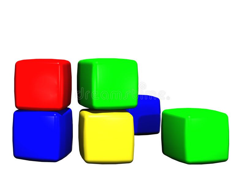 Childrens toy building blocks stock illustration