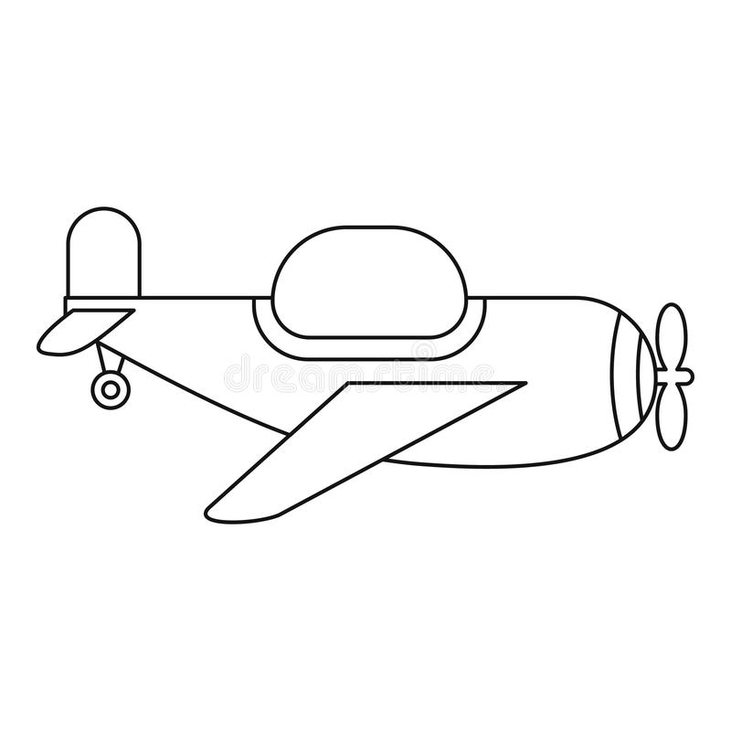 Childrens toy plane icon, outline style royalty free illustration
