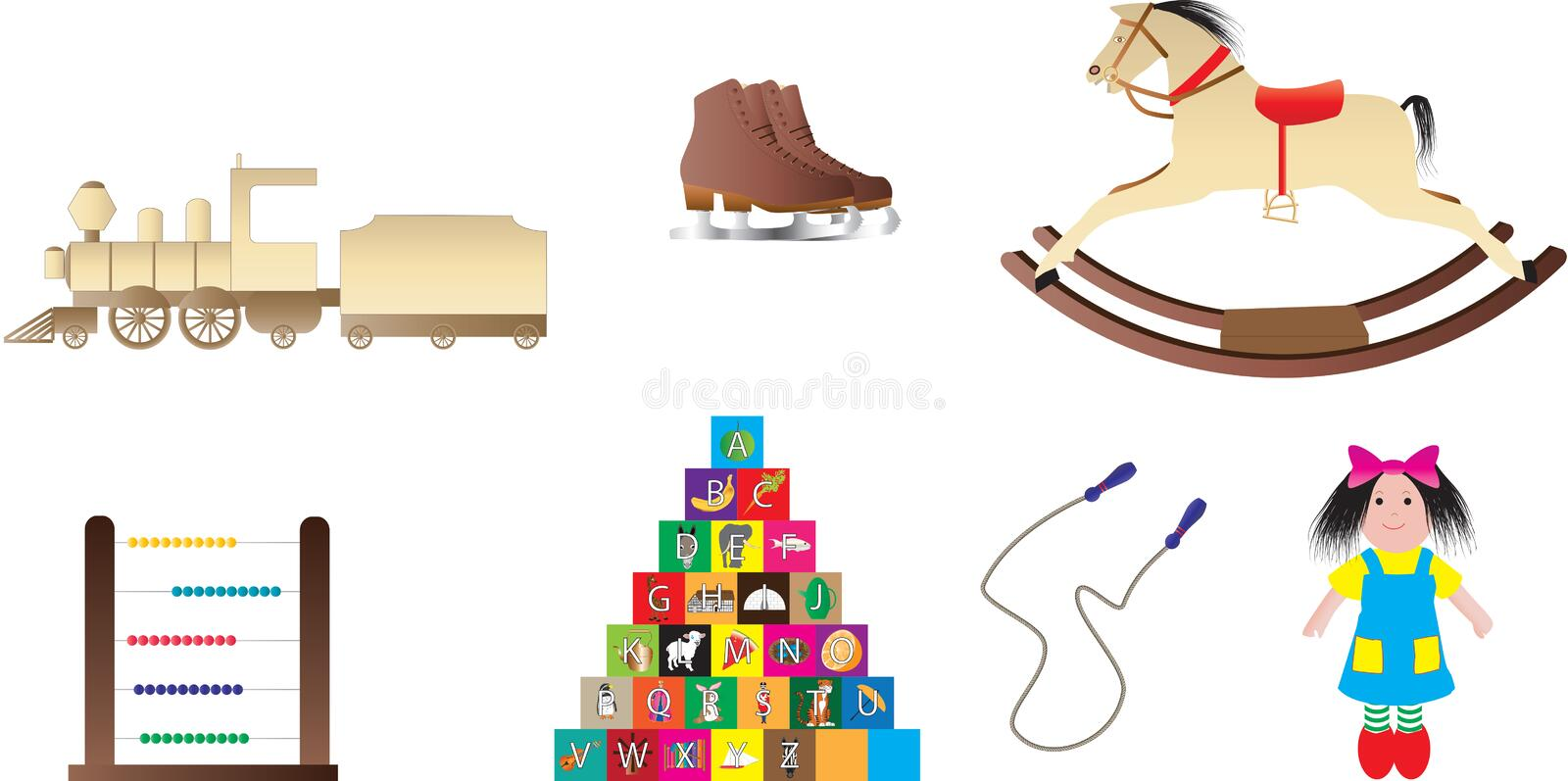 Childrens Toys. Traditional Childrens Toys,Rocking Horse,Building Bricks,Rag Doll,Train,Skipping Rope,Abacus,Ice Skates stock illustration