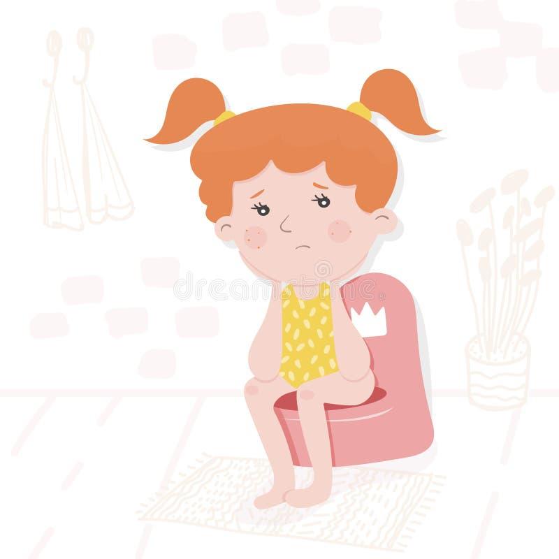 Childrens vector illustration. Sad little girl stock illustration