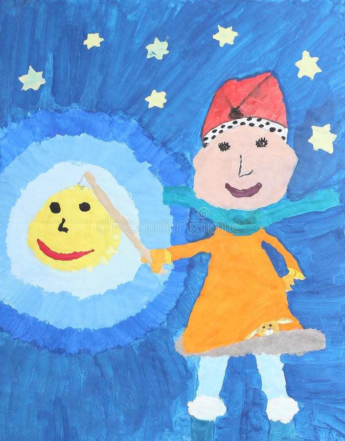 Childrens watercolor painting: girl with lantern. On martinmas day stock illustration
