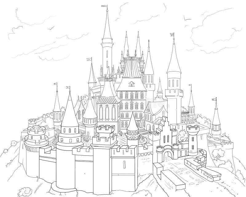 CASTLE Hand Drawn Illustration 2019. CASTLE. 2019 Children winter dream, Holidays. Castle black on white background Hand Drawn illustration. Festive Decorative stock illustration