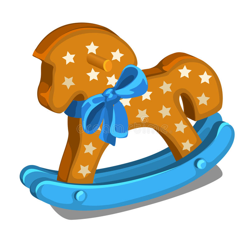 Childrens wooden rocking horse with blue bow royalty free illustration