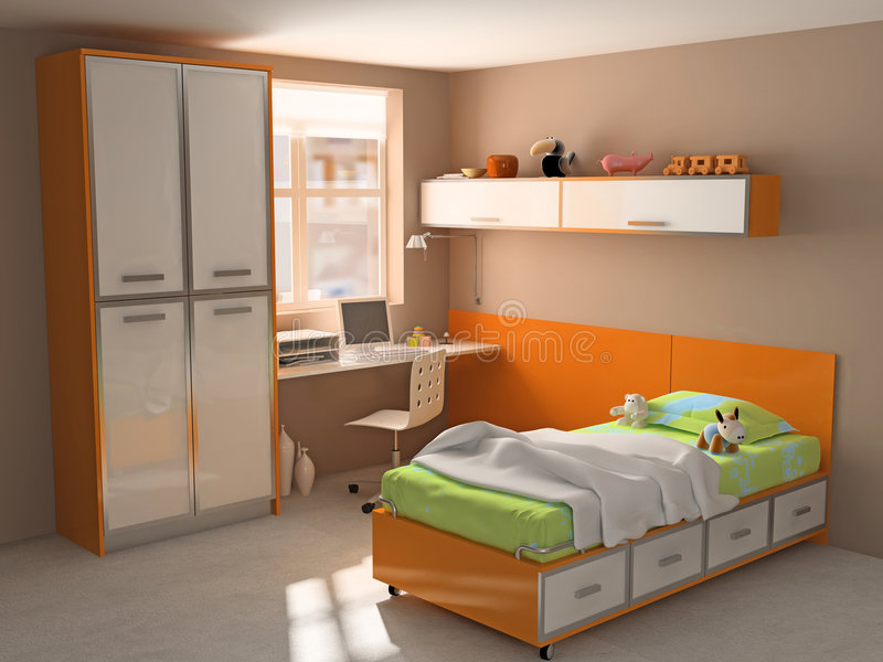 Download Childroom stock image. Image of bedroom, drawers, interior - 4616623
