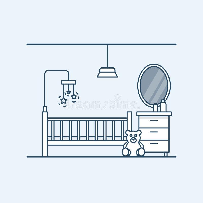 childs屋子的现代室内设计 与玩具和玩具熊的儿童的床 床头柜和镜子 向量 库存例证