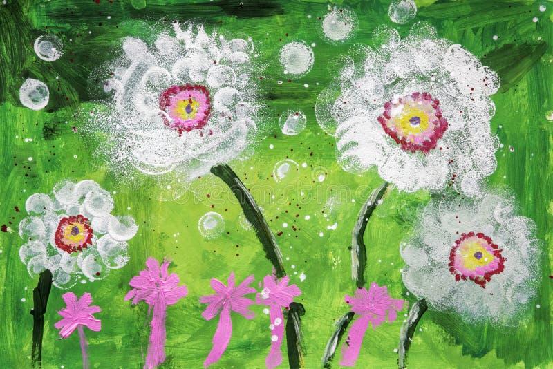 Childs akrylmålning av blommor stock illustrationer