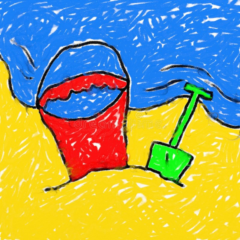 Childs beach drawing vector illustration