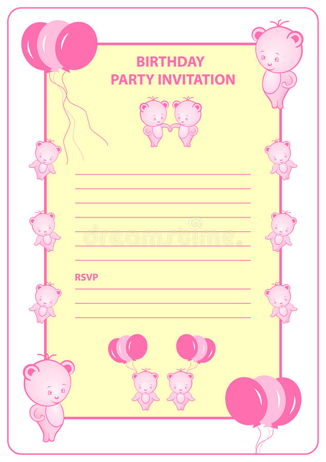 Download Childs Birthday Party Invitation Stock Vector - Image: 14075335