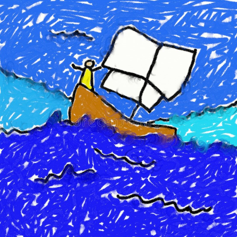 Childs boat drawing stock illustration