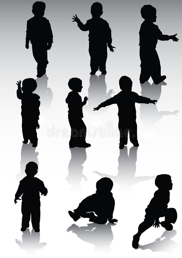 Childs d'og de silhouette illustration libre de droits