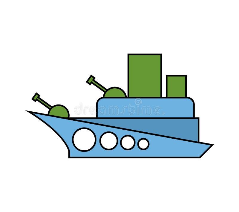 Childs del buque de guerra que dibujan estilo Los militares combaten el barco aislado ilustración del vector