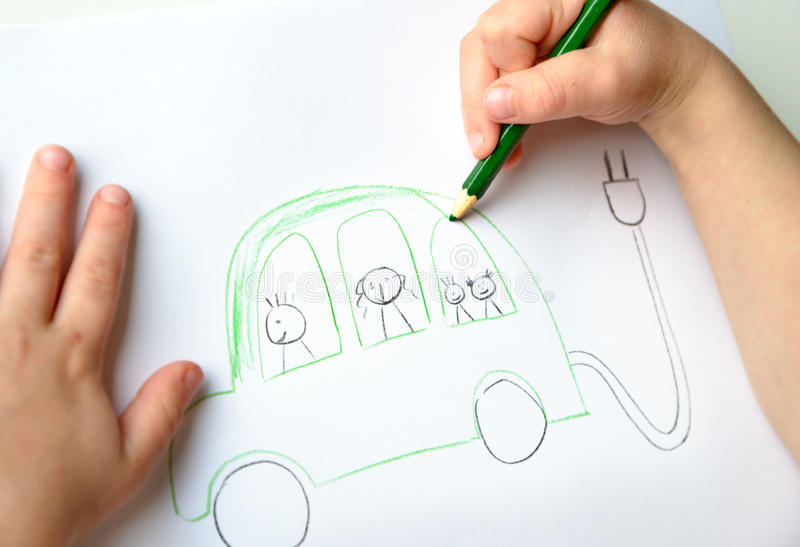 Childs drawing of eco-friendly car royalty free stock images