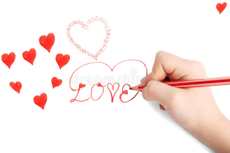 Childs hand drawing Saint Valentine card. With hearts royalty free stock photo