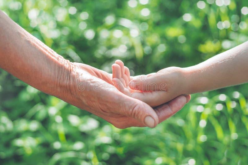 Childs ręka i stary wyga babcia Pojęcie pomysł miłości chronienia rodzinni dzieci i starsi ludzi babcia obraz royalty free