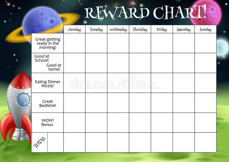 Childs Reward or Chore Chart. A childs reward or chore chart with spaces for stickers or stars stock illustration