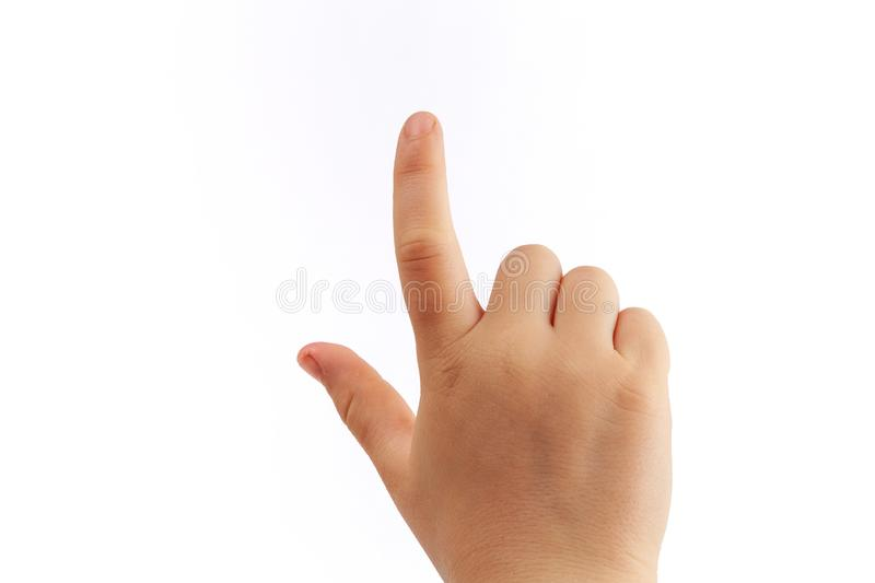Childs right hand tapping with index finger. Isolated on white background royalty free stock photo