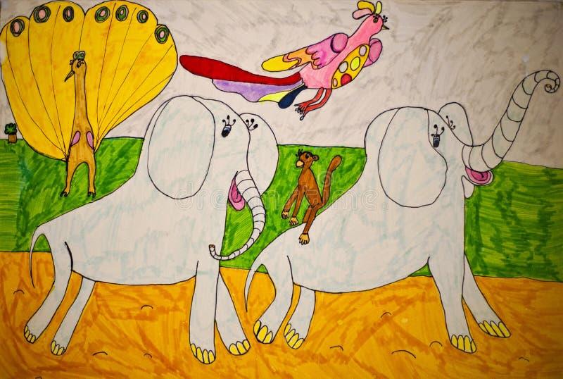 Childs rysunek - słonie zdjęcia royalty free