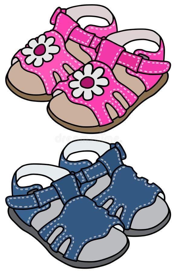 Download Childs sandały ilustracja wektor. Ilustracja złożonej z greaser - 53784118