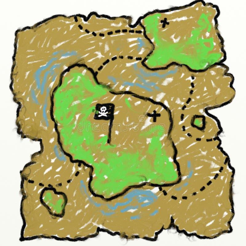 Childs Treasure Map Drawing Stock Photo