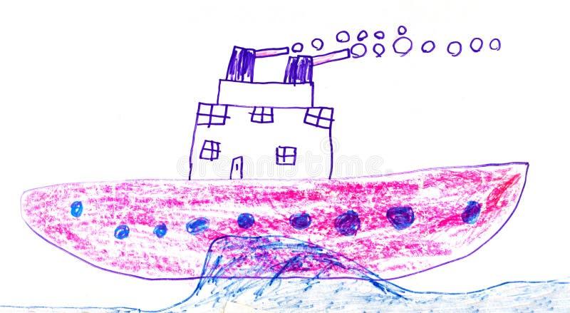 Childstekening van slagschip royalty-vrije illustratie